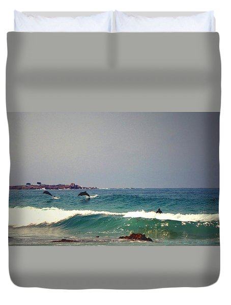Dolphins Swimming With The Surfers At Asilomar State Beach  Duvet Cover by Joyce Dickens