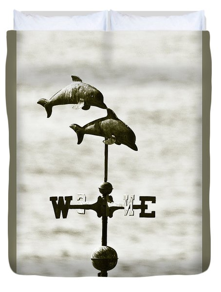 Dolphins Weathervane In Sepia Duvet Cover by Ben and Raisa Gertsberg