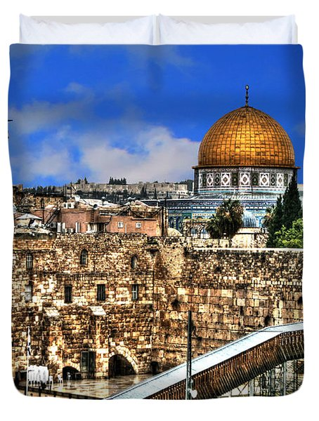 Duvet Cover featuring the photograph Dome Of The Rock by Doc Braham
