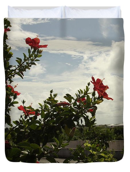 Dominican Red Flower Duvet Cover