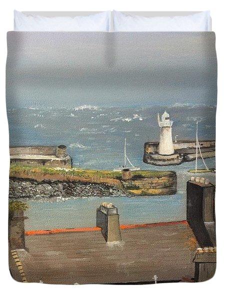 Duvet Cover featuring the painting Donaghadee Ireland Irish Sea by Brenda Brown