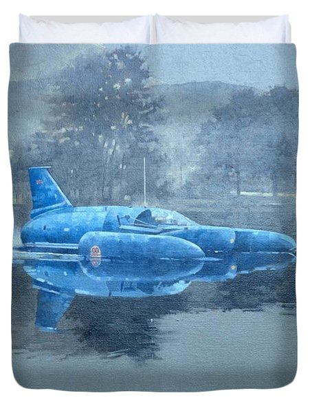 Donald Campbell And Bluebird Oil On Canvas Duvet Cover
