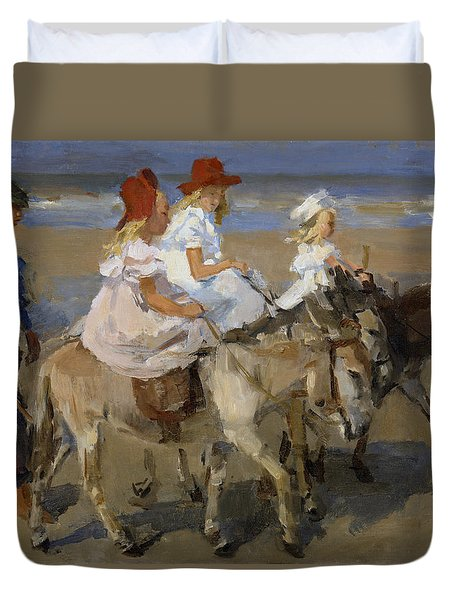 Donkey Rides Along The Beach Duvet Cover