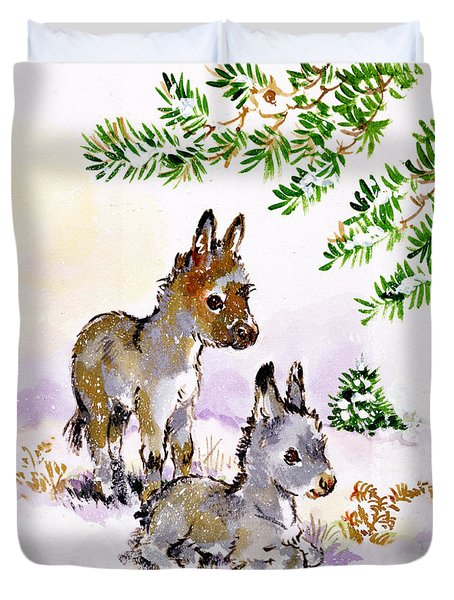 Donkeys Duvet Cover by Diane Matthes