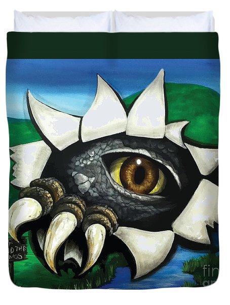 Don't Feed The Dinosaur Duvet Cover