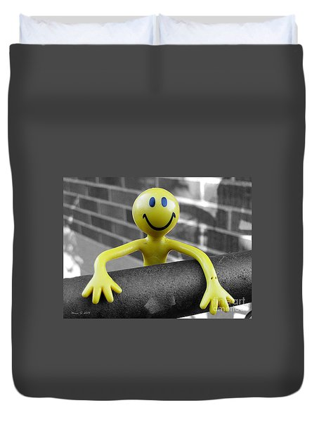 Duvet Cover featuring the photograph Don't Worry Be Happy by Nina Silver