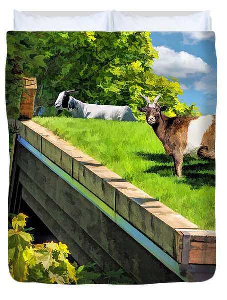 Door County Al Johnsons Swedish Restaurant Goats Duvet Cover