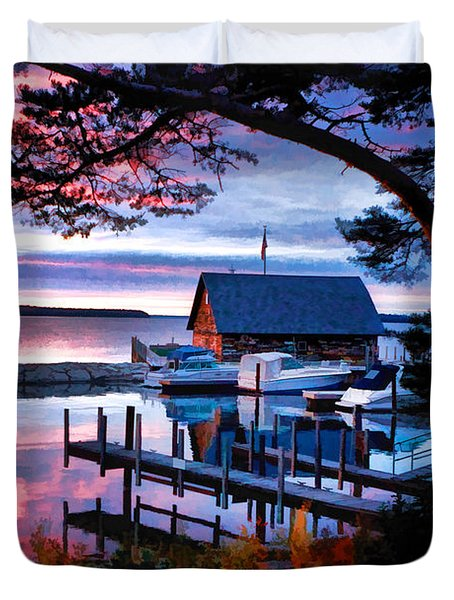Door County Anderson Dock Sunset Duvet Cover by Christopher Arndt