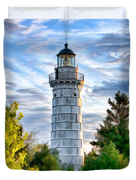 Door County Cana Island Beacon Duvet Cover by Christopher Arndt
