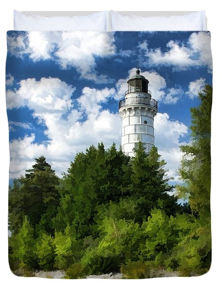 Cana Island Lighthouse Cloudscape In Door County Duvet Cover