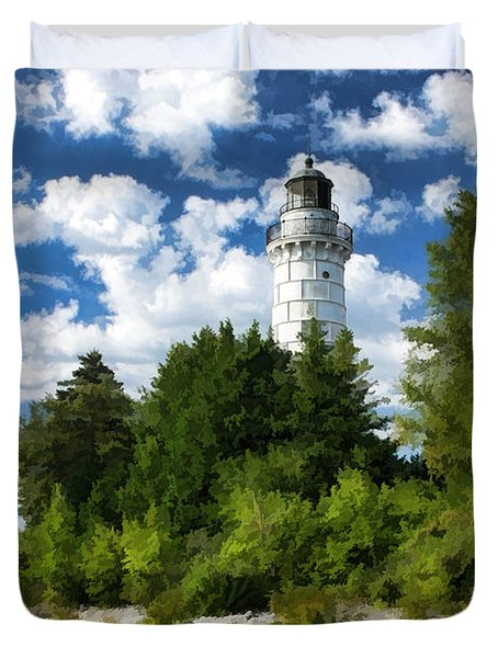 Cana Island Lighthouse Cloudscape In Door County Duvet Cover by Christopher Arndt