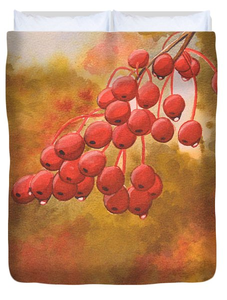 Door County Cherries Duvet Cover by Rick Huotari
