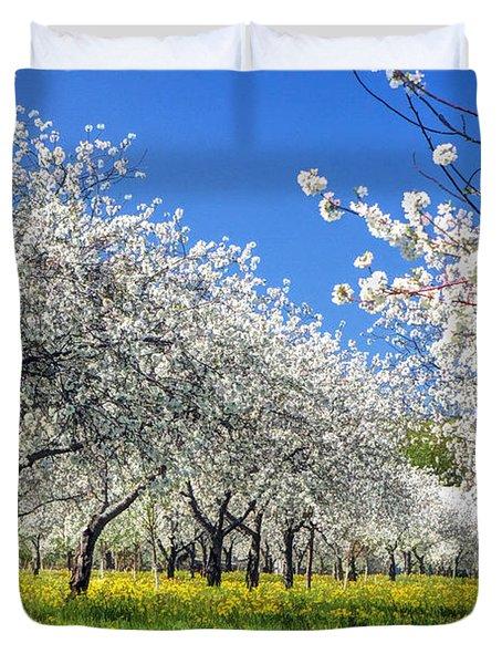 Door County Cherry Blossoms Duvet Cover