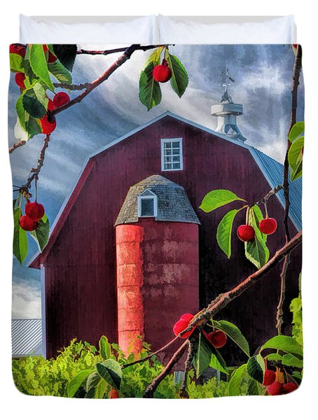 Door County Cherry Harvest Red Barn Duvet Cover