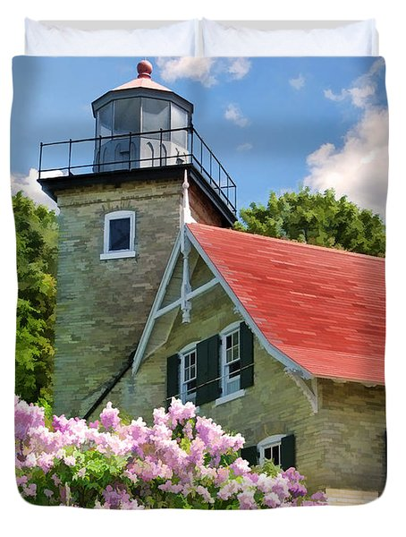 Door County Eagle Bluff Lighthouse Lilacs Duvet Cover