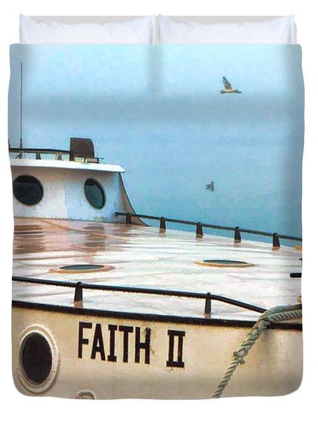 Door County Gills Rock Faith II Fishing Trawler Duvet Cover