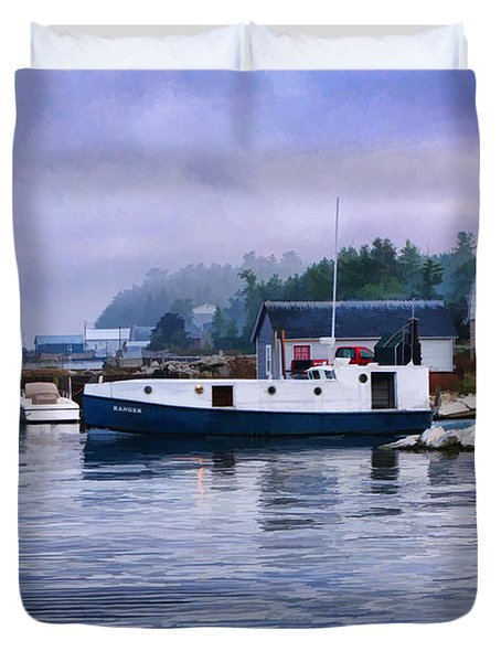 Door County Gills Rock Fishing Village Duvet Cover