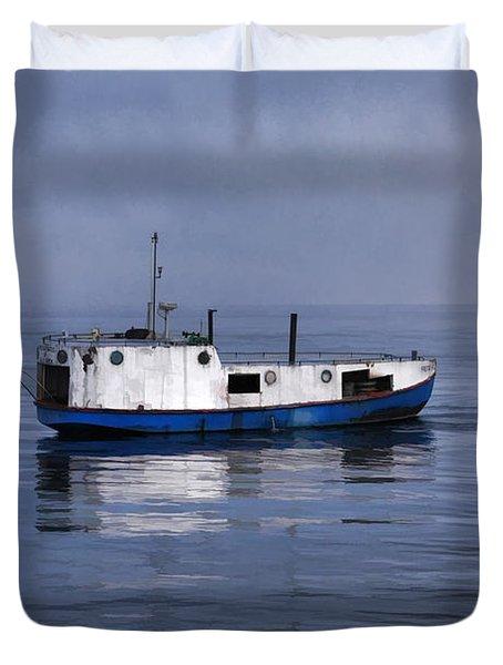 Door County Gills Rock Trawler Duvet Cover by Christopher Arndt