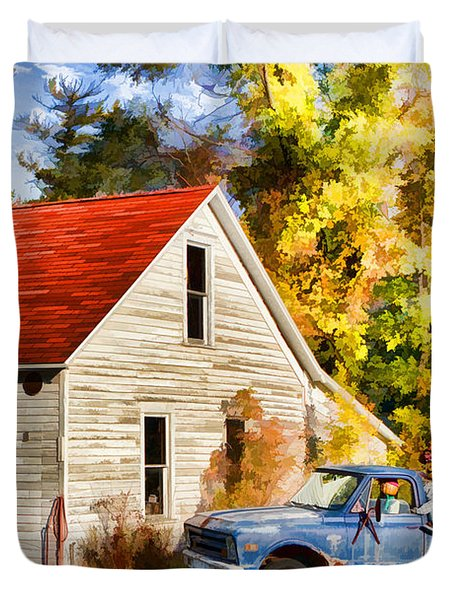 Door County Gus Klenke Garage Duvet Cover