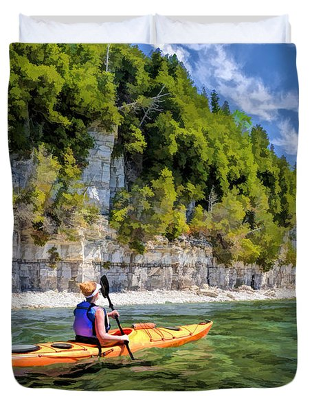 Door County Kayaking Around Rock Island State Park Duvet Cover