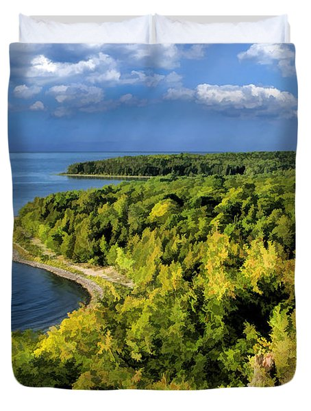 Door County Peninsula State Park Svens Bluff Overlook Duvet Cover by Christopher Arndt