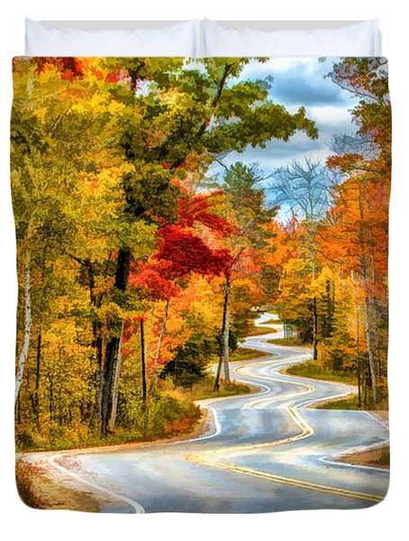 Door County Road To Northport In Autumn Duvet Cover by Christopher Arndt
