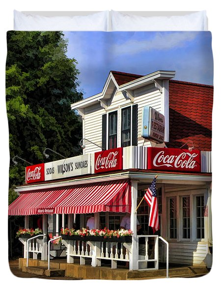 Door County Wilson's Ice Cream Store Duvet Cover