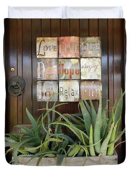 Door With A Message Duvet Cover by Leana De Villiers