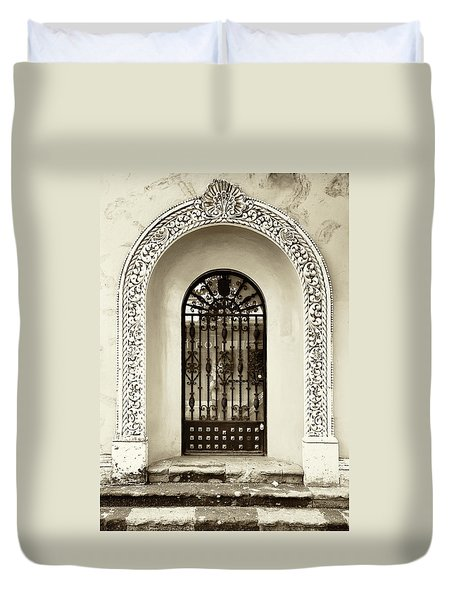 Door With Decorated Arch Duvet Cover