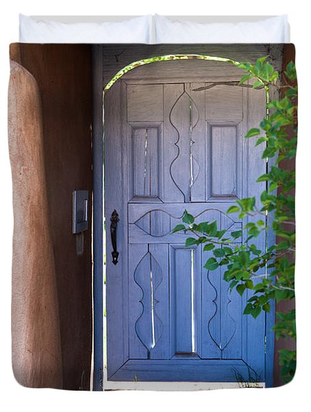 Duvet Cover featuring the photograph Doors Of Santa Fe by Roselynne Broussard