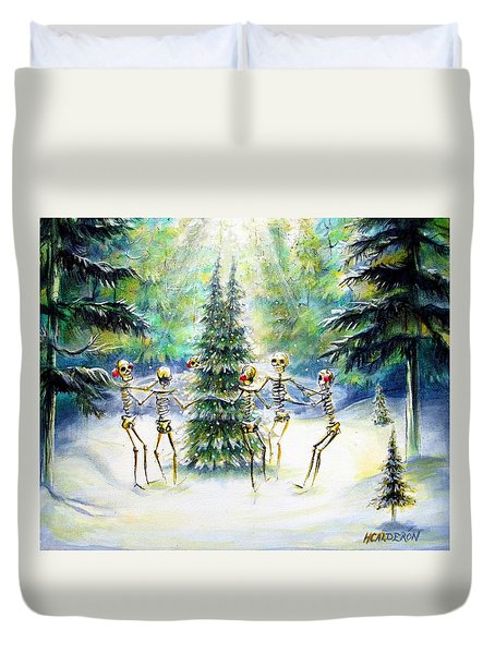 Duvet Cover featuring the painting Dos Arbolitos by Heather Calderon