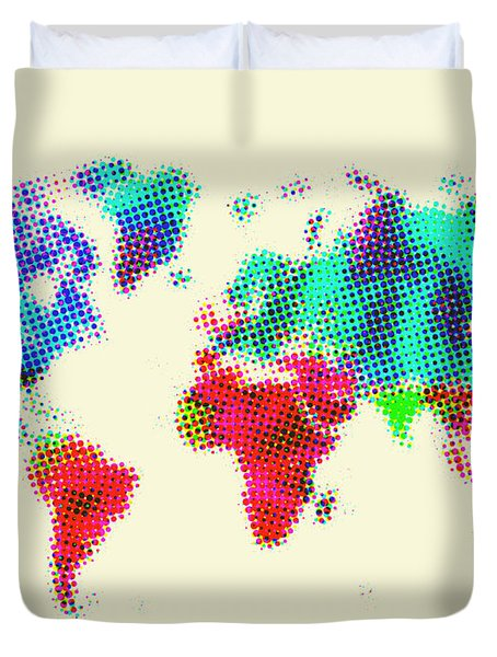 Dotted World Map 2 Duvet Cover by Naxart Studio