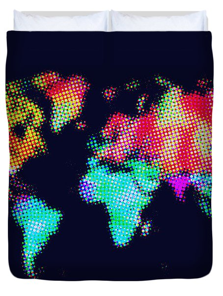 Dotted World Map 3 Duvet Cover by Naxart Studio