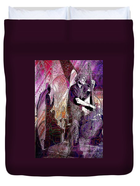 Double Bass Silhouette  Duvet Cover