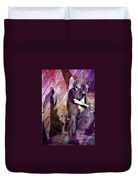 Double Bass Silhouette  Duvet Cover by Ian Gledhill