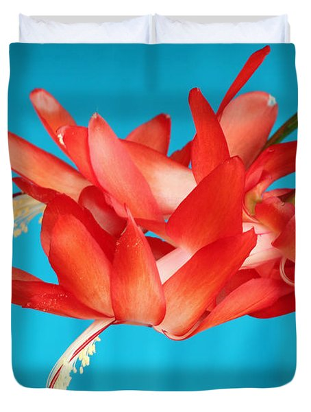 Double Bloom In Red Duvet Cover by E Faithe Lester