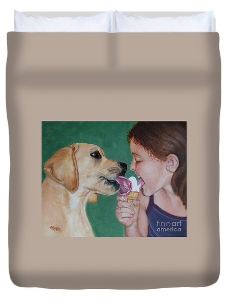 Double Dip - Ice Cream For Two Duvet Cover by Amy Reges