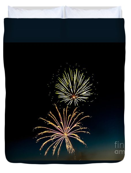 Double Fireworks Blast Duvet Cover by Robert Bales