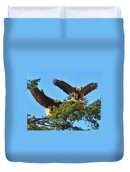 Duvet Cover featuring the photograph Double Landing by Jack Moskovita