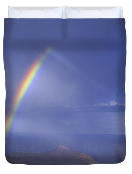 Duvet Cover featuring the photograph Double Rainbow At Cape Royal Grand Canyon National Park by Dave Welling