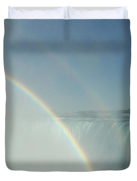 Duvet Cover featuring the photograph Double Rainbow by Brenda Brown