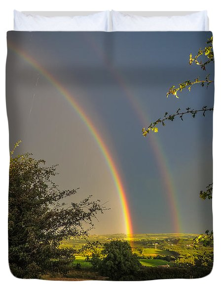 Double Rainbow Over County Clare Duvet Cover