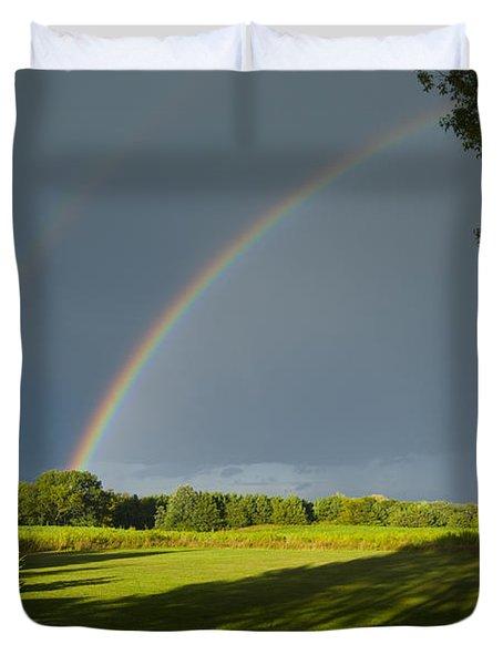 Double Rainbow Over Fields Duvet Cover