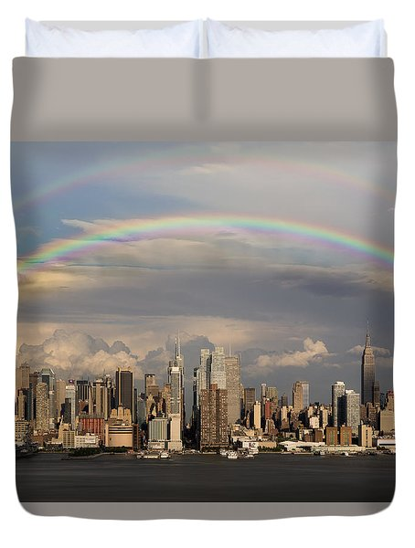 Double Rainbow Over Nyc Duvet Cover