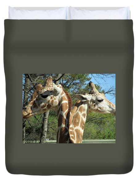 Giraffes With A Twist Duvet Cover