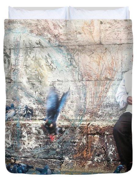 Duvet Cover featuring the photograph Doves Of Istanbul by Lesley Fletcher