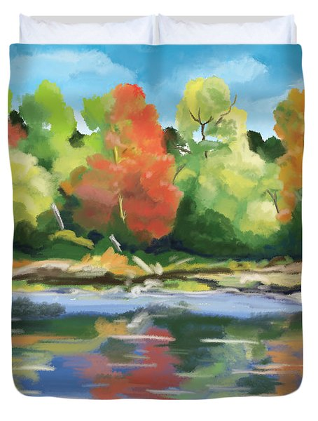 Duvet Cover featuring the painting Down By The River by Tim Gilliland