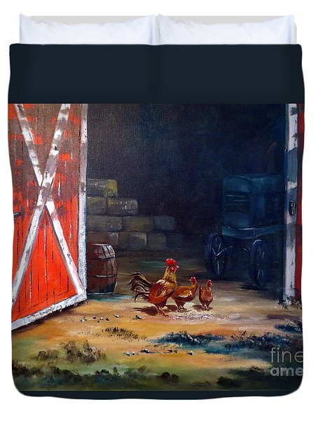 Down On The Farm Duvet Cover by Lee Piper
