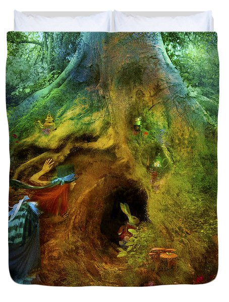 Down The Rabbit Hole Duvet Cover by Aimee Stewart