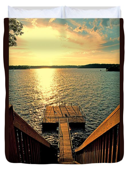 Down To The Fishing Dock - Lake Of The Ozarks Mo Duvet Cover